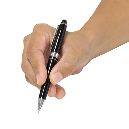Holding a pen for writing isolated over white background