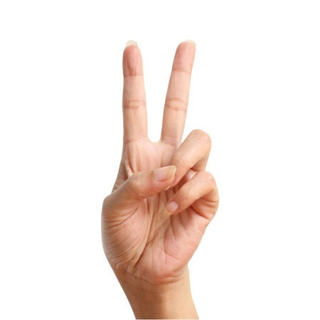 victory sign: Two signal raise up, making by hand isolated over white background