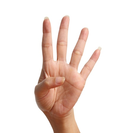 Four signal raise up, making by hand isolated over white background Stock Photo
