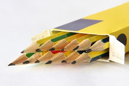 A arrangement of pencil in the yellow box