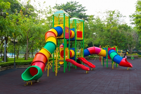 school playground: Colorful children playground in the park