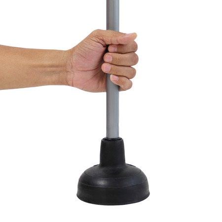 Holding black rubber plunger for toilet pump isolated over white background
