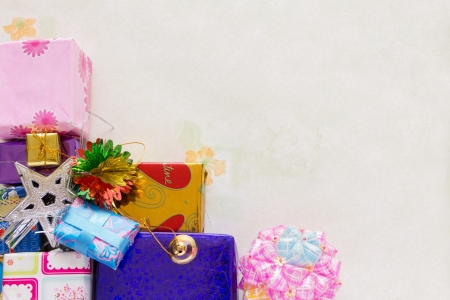 A stacking and decoration of present of holiday gifts