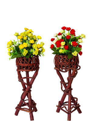 Decoration and collection of fabric artificial flowers in wooden stand Stock Photo