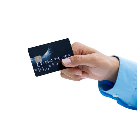 Closeup of hand holding credit card over white Stock Photo
