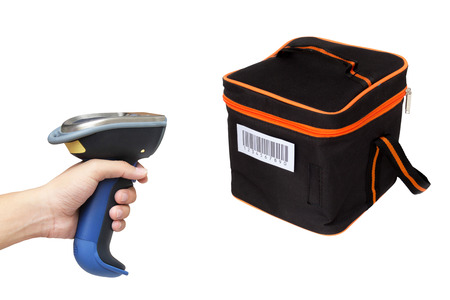 Hoding and scanning picnic box with barcode scanner over white background photo