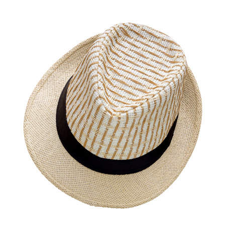 Weave hat isolated on white background, Pretty straw hat isolated on white background Stock Photo