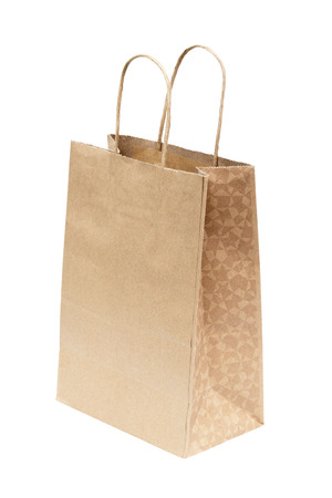 Simple brown paper bag isolated over white background