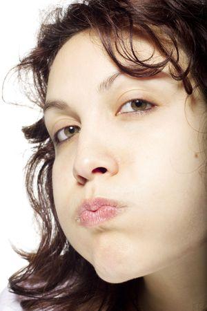 Girl Blowing Her Cheeks