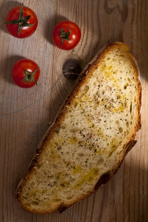 cherry tomatoes: Bread with Cherry Tomatoes Stock Photo