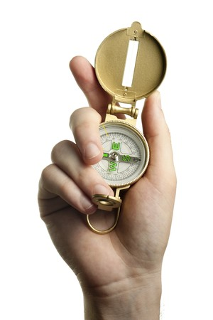 Hand Holding a Compass photo