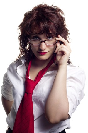 Woman with Glasses and Tie photo