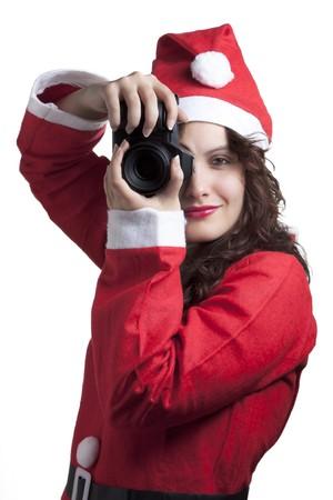 Santa Woman with Camera photo