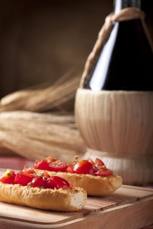 Bruschetta with Wine Flask photo