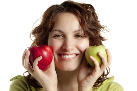 Smiling Woman with Two Apples photo