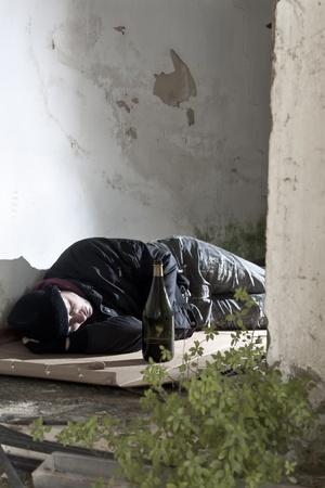 drunk man: Sleeping Alcoholic Stock Photo