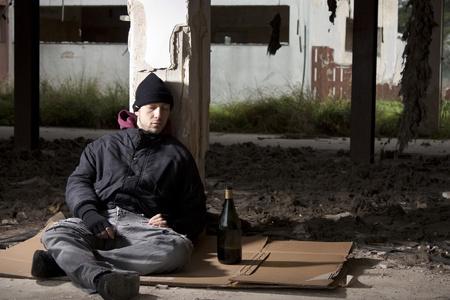 alcoholic man: Sleeping Alcoholic Stock Photo
