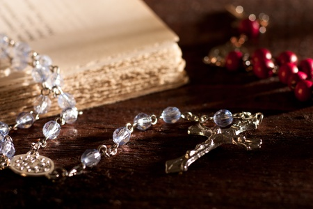 rosary: Silver Rosary with Book