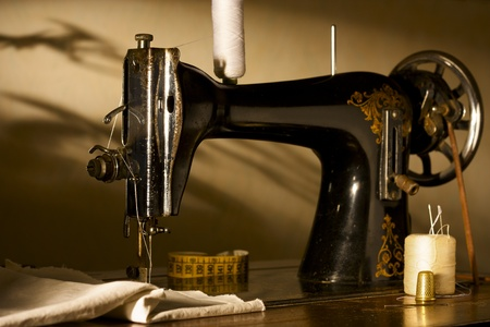 sewing cotton: Antique Sewing Machine