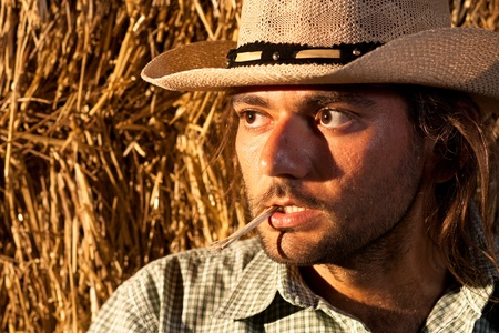 working cowboy: Tough Cowboy with Straw in His Mouth Stock Photo