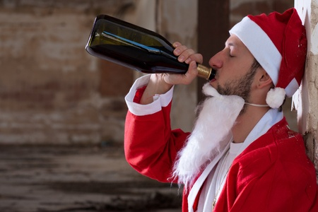 Alcoholic Santa Drinking a Wine Bottle