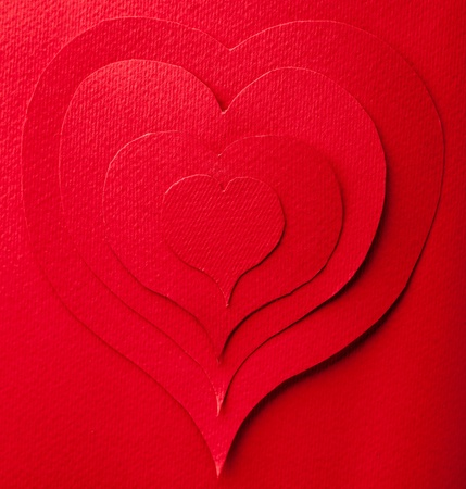 Concentric Red Paper Hearts Close Up