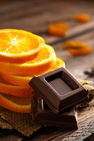 Chocolate Squares with Orange Slices on Jute and Wood
