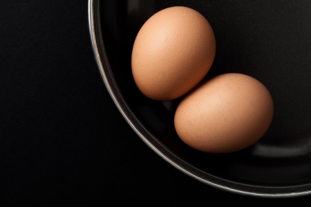 Two Brown Chicken Eggs on Black Frying Pan Stock Photo - 15254491