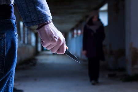 stalking: Criminal with Knife Waiting for a Woman