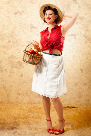 sexy housewife: Pin Up Smiling Farmer with Wicker Basket