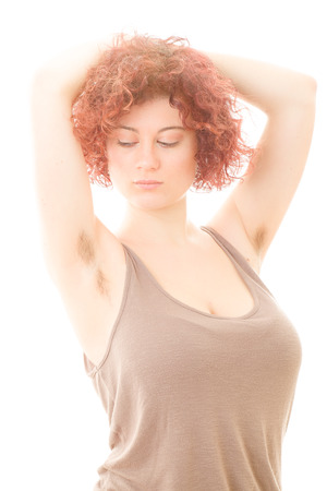 armpits: Pretty Woman with Hairy Armpits on White Background