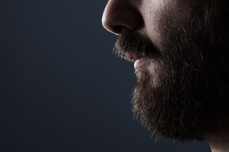 man with beard: Profile Close Up of a Man with Brown Beard on Gray Background Stock Photo