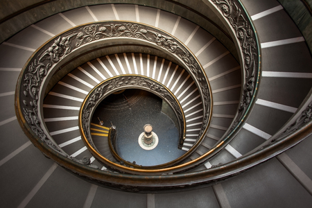 Spiral Stairway inside Vatican  from Above Stock Photo
