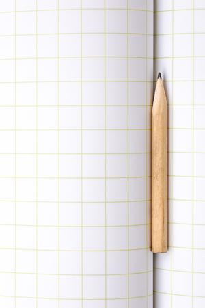 Short Pencil on a Squared Paper Copybook 写真素材