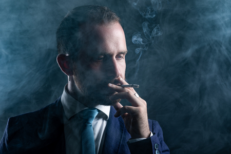Elegant Man with Beard Smoking a Cigarette Surrounded with Smoke 写真素材