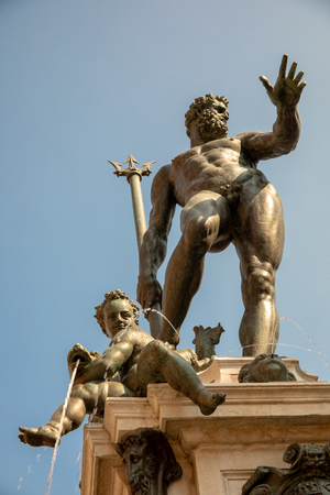Detail of the Fountain of Neptune in Bologna, View from Below 写真素材