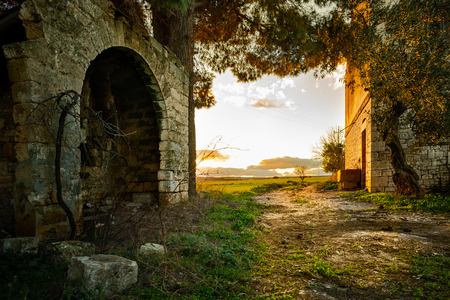 Abandoned Farm at Sunset in Apulia, Italy 写真素材