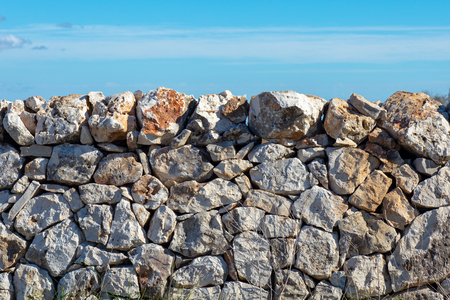 Close Up of a Traditional Drywall (Stone Wall Made without Mortar) in Apulia