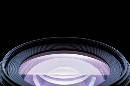 Close Up of a Photographic Lens on Black Background