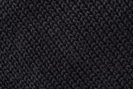 Extreme Close-Up of Black Woolen Texture