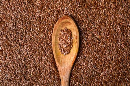 Close-Up of Flaxseed on Wooden Spoon