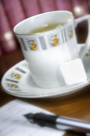 close up at a tea cup