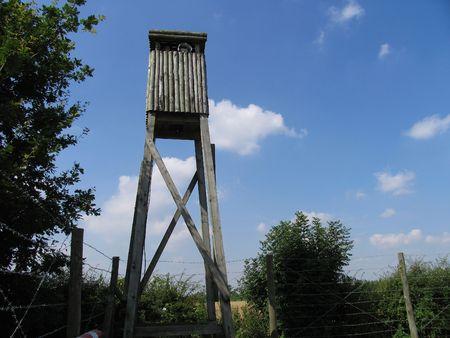 prisoner of war: A lookout tower at a prisoner of war camp.