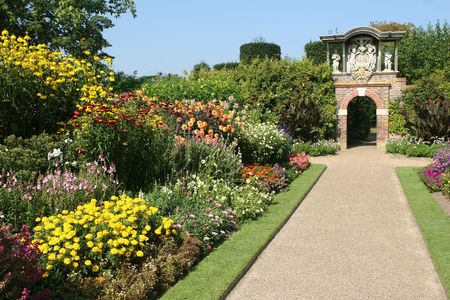 The herbaceous borders in Nymans Gardens.