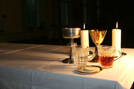 consecrated: The altar is lit by the early morning sunlight Stock Photo
