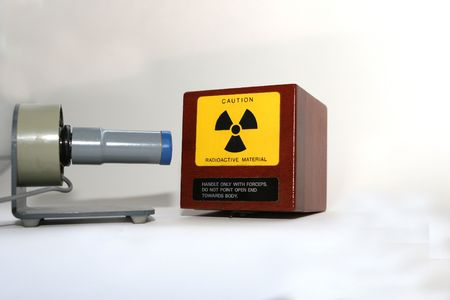 strontium: A box of radioactive isotopes in a laboratory- big news in England! Stock Photo