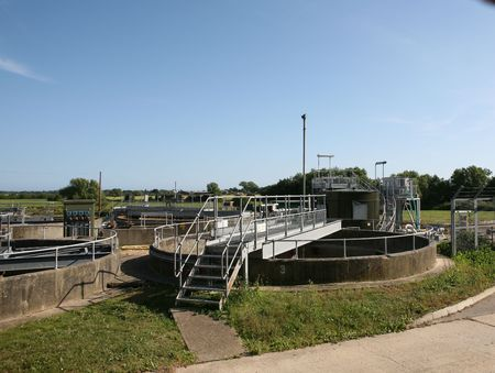 sewage treatment plant: A sewage treatment plant in Sussex England Stock Photo
