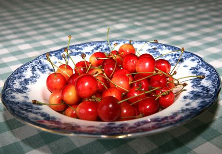A delicious bowl of freshly picked organic cherries