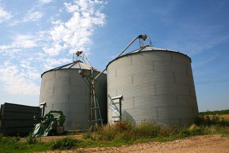 Two huge grain silos dominate the skyline