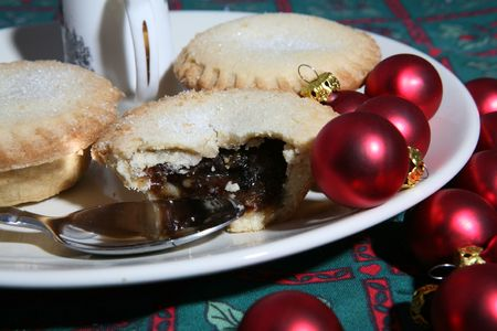 A tasty display of festive Christmas mince pies on a plate Stock Photo - 5727709
